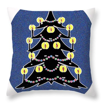 Candlelit Christmas Tree Throw Pillow by Nancy Mueller