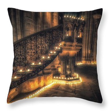 Throw Pillow featuring the photograph Candlemas - Pulpit by James Billings