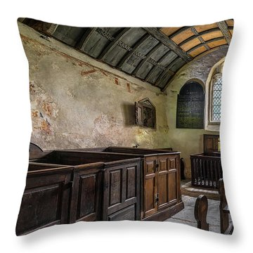 Throw Pillow featuring the photograph Candles In Old Church by Adrian Evans