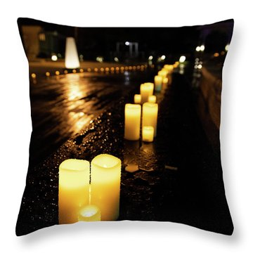 Candles On The Beach Throw Pillow