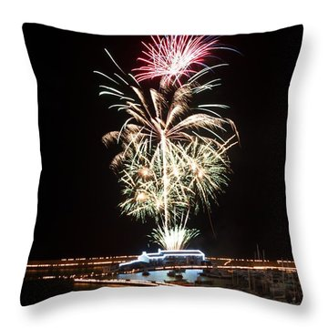 Throw Pillow featuring the photograph Candles On The Cobb  by Gary Bridger