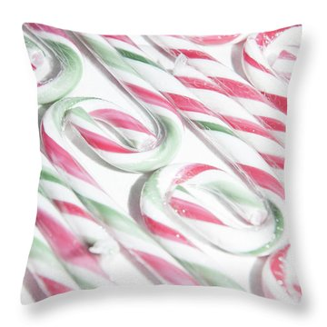 Candy Cane Swirls Throw Pillow