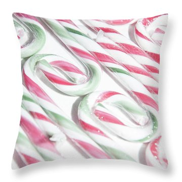 Candy Cane Swirls Throw Pillow