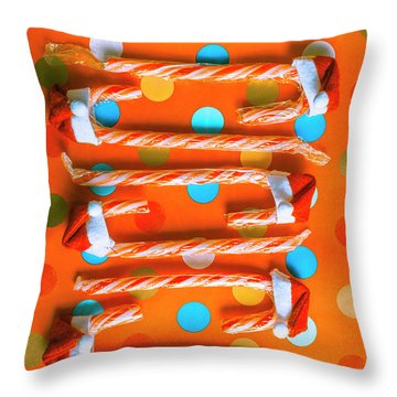 Candy Canes And Christmas Hats Throw Pillow