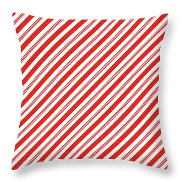 Candy Canes Stripes- Art By Linda Woods Throw Pillow