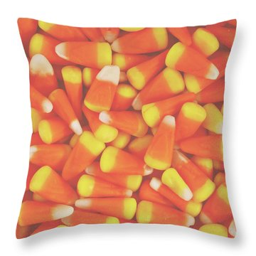 Candy Corn Square- By Linda Woods Throw Pillow