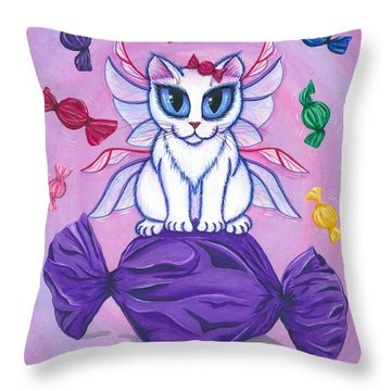 Candy Fairy Cat, Hard Candy Throw Pillow