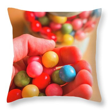 Candy Hand At Lolly Store Throw Pillow
