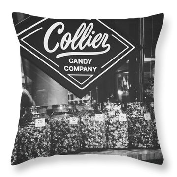 Candy Store- Ponce City Market - Black And White Throw Pillow