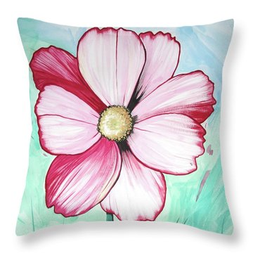 Throw Pillow featuring the painting Candy Stripe Cosmos by Mary Ellen Frazee