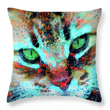 Candy The Colorful Green Eyed Cat Throw Pillow