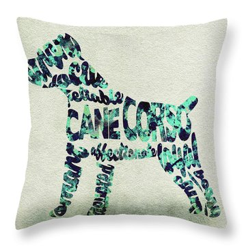 Throw Pillow featuring the painting Cane Corso Watercolor Painting / Typographic Art by Ayse and Deniz