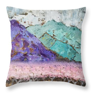 Canigou With Blooming Peach Trees Throw Pillow
