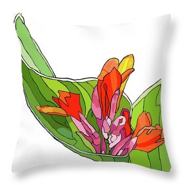 Canna Bud Throw Pillow by Jamie Downs