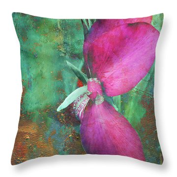 Throw Pillow featuring the digital art Canna Grunge by Greg Sharpe