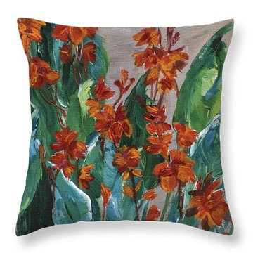 Throw Pillow featuring the painting Cannas by Jamie Frier