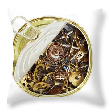 Canned Time - Parts Of Clockwork Mechanism In The Can Throw Pillow by Michal Boubin