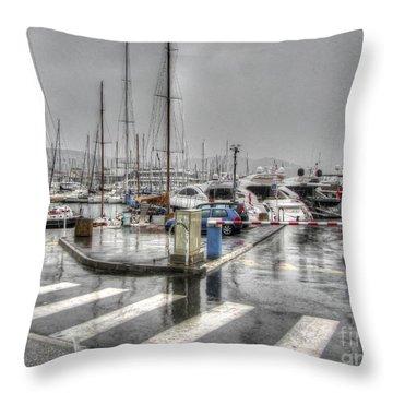 Cannes Street Rain Throw Pillow