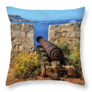 Cannon At Comino Battery Throw Pillow by Stephan Grixti