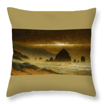 Cannon Beach Evening Throw Pillow