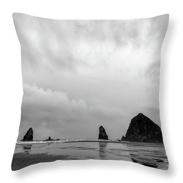 Cannon Beach In Black And White Throw Pillow