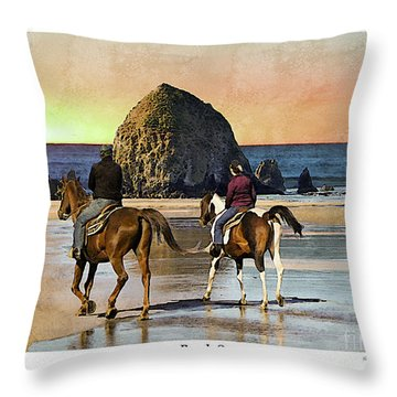 Cannon Beach Throw Pillow by Kenneth De Tore