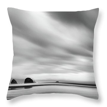 Cannon Beach Long Exposure Sunrise In Black And White Throw Pillow