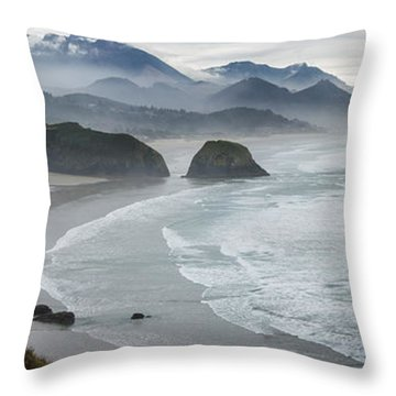 Cannon Beach Oregon Pano Throw Pillow