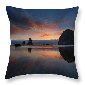 Cannon Beach Sunset Throw Pillow by David Gn