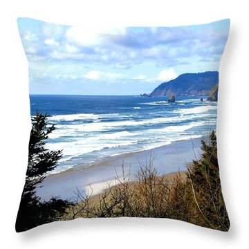 Cannon Beach Vista Throw Pillow by Will Borden