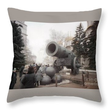 cannon in Moscow Throw Pillow by Ted Pollard