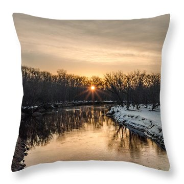 Cannon River Sunrise Throw Pillow