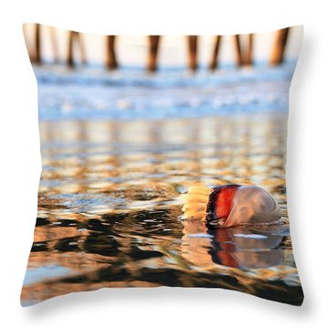 Cannonball Jellyfish Beached Throw Pillow