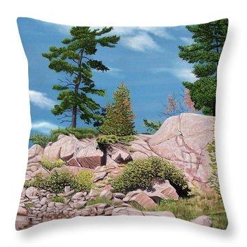Canoe Among The Rocks Throw Pillow
