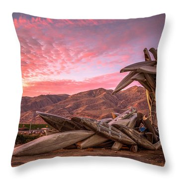 Canoe Art Sculpture With Pink Clouds Throw Pillow