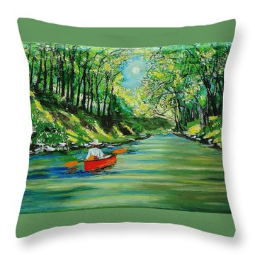 Canoe Cruising Throw Pillow