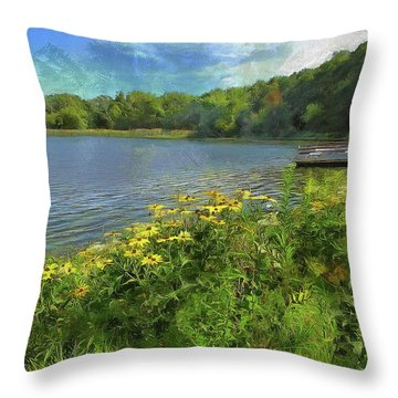 Canoe Number 9 Throw Pillow by Cedric Hampton