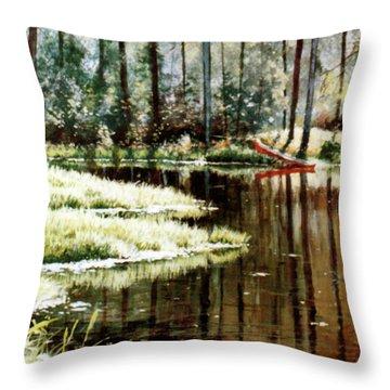 Canoe On Pond Throw Pillow