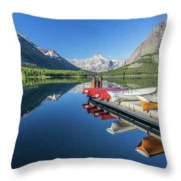 Canoe Reflections Throw Pillow