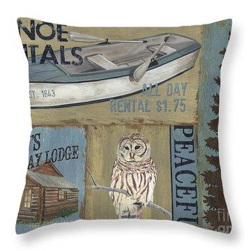 Canoe Rentals Lodge Throw Pillow