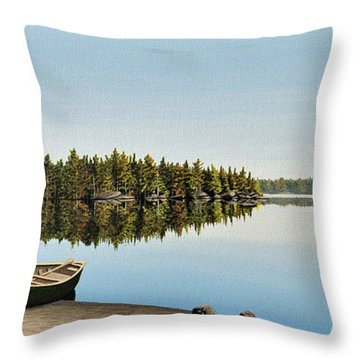 Canoe The Massassauga Throw Pillow by Kenneth M  Kirsch