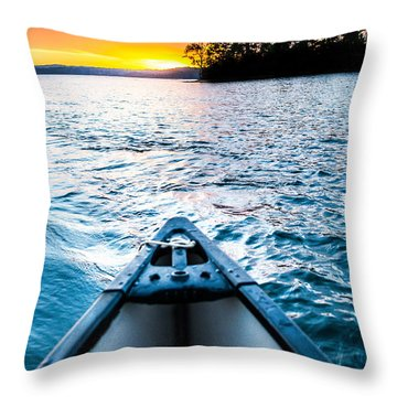 Canoeing In Paradise Throw Pillow by Parker Cunningham