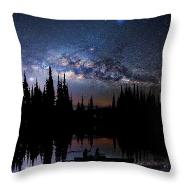 Canoeing - Milky Way - Night Scene Throw Pillow