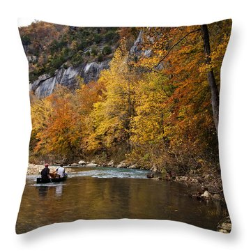 Canoeing The Buffalo River At Steel Creek Throw Pillow