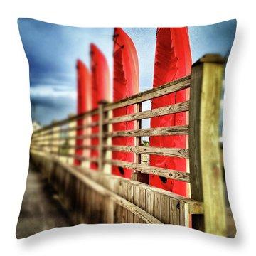 Canoes And Walkway, Surf City, North Carolina Throw Pillow by John Pagliuca