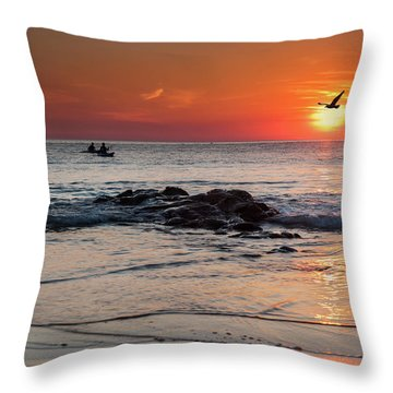 A Canoe At Crackington Haven At Sunset Cornwall Throw Pillow