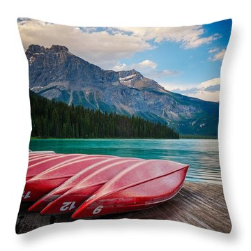 Canoes At Emerald Lake In Yoho National Park Throw Pillow