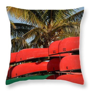 Canoe's At Flamingo Throw Pillow by David Lee Thompson