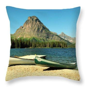 Canoes Foreground Mount Sinopah Throw Pillow