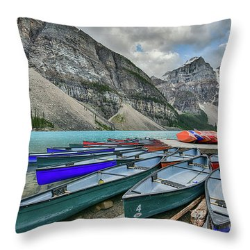 Canoes On Moraine Lake  Throw Pillow